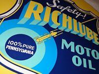 """VINTAGE """"RICHLUBE MOTOR OIL W/ SPACE SHIP"""" 11 3/4"""" PORCELAIN METAL GASOLINE SIGN"""