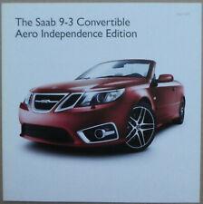 Rare 2011 Saab 9-3 Convertible Aero Independence Edition - UK brochure