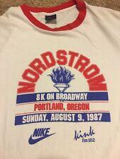 """New listing Vintage Nike Nordstrom """"8K On Broadway"""" Portland 1991 Marathon Ringer T Shirt L"""