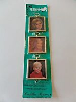 """Vintage Package of 3 Cadillac Link Linking Mini Picture Frames 2.5"""" 2.5"""""""