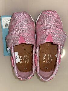 TOMS  Toddler Girl Tiny Bimini Peony Slubby Metallic Shoes Size 6