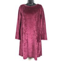 Pure J Jill dress XS shift stretch velvet velour berry pima cotton ls soft cozy