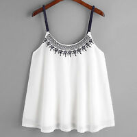 UK Women Ladies Sleeveless Tank Tops Embroidered Chiffon Cami Top Blouse T Shirt