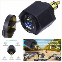 1X 12-24V Waterproof Motorcycle Dual USB Port 4.2A Charger LED Voltmeter For BMW