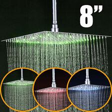 Bathroom 8-inch Rain Shower Head Wall Mount Chrome Ultrathin Stainless Steel Tap