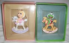ENESCO 1984 Ornament LOT 2 BABY MISS PIGGY KERMIT The Muppets Babies Baby's 1st