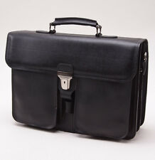 New DIONIGI Black Grained Leather Two-Gusset Briefcase w/ Buckle Closure Italy