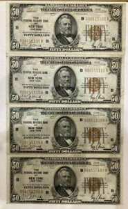 $50 National Notes 1928 3 Consecutive w/4th Note Close, Nice AU 108 109 110 136