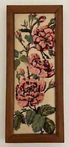 Vintage Wooden Framed Tapestry Floral Roses Wool Handmade Hanging Pink Green GUC