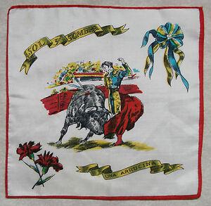 Vintage Handkerchief MENS Hankie Top Pocket TOURIST SPAIN BULL MATADOR ARRUCINA