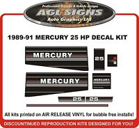 1989 1990 1991 MERCURY 25 hp Replacement Outboard Decals   20 hp