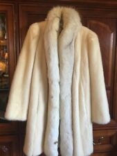 Vintage MINK & FOX FUR White Cream Ladies Coat MEDIUM - LARGE Beautiful!