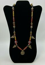 Coin Pendant Necklace Lampwork Art Glass beads Arrowhead Charms Tribal Boho