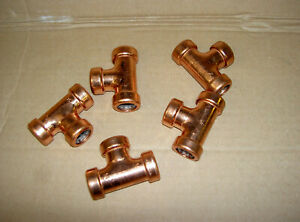 5 x 15mm COPPER PUSH FIT  Equal tee15mm  - BRAND NEW PUSH FITTING