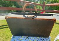 Antique Leather Doctors Bag with Pull Out Copper Drawer for Surgical Instruments