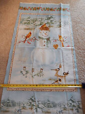 A Winter Song Snowman Cardinal Snow Panel Henry Glass 9825P/11 cotton fabric