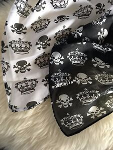 Ladies Women Unisex Fashion Skull Crown Scarf Shawl Wrap New Black & White Gift
