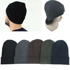 Lot of 6 Beanie Men Women Dark Colors Winter Cuffed Knit Beanies Hats Cap Caps
