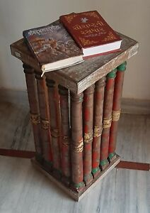 Old wooden bedside table antique stool rustic home decor reclaimed wood table