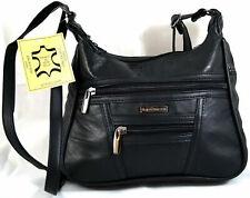 Umhängetasche Handtasche Abendtasche weiches Echt Leder Schwarz Bag Street 6626