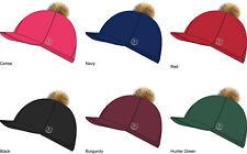 GATEHOUSE Stretch Hat Cover Jockey Skull Cap Silk Removable Fluffy PomPom