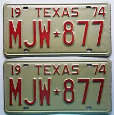 Texas 1974 License Plate NICE QUALITY PAIR # MJW-877