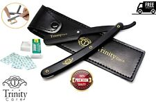 STRAIGHT CUT THROAT SHAVING RAZOR SHAVETTE RASOIRS RASOI, 10 FREE BLADES