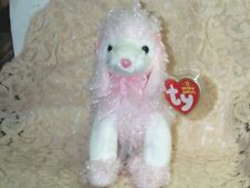 """TY beanie baby babies Divalightful Poodle Dog 11-6-2005 White & Pink 5 3/4"""" Tall"""