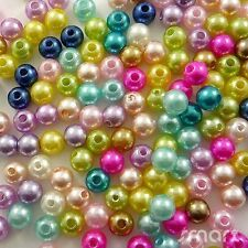100pcs Mixed Colors Round Pearl Plastic Beads Lot Craft/Kids Jewelry Making 8MM