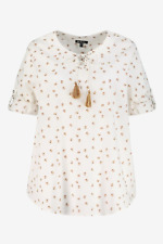 Ulla Popken blouse top plus size 16/18 20/22 24/26 28/30 32/34+ bee print ivory