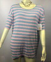 NWT LuLaRoe Irma Tee Blue Pink Stripes size XS Shirt Blouse