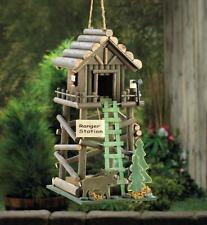 New listing Ranger Station Wooden Birdhouse Moose Ladder Pine Tree Rustic Yard Garden Decor