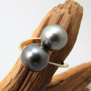 Wert 460,- Gold Tahiti - Perlen - Ring aus 585 / 14 KT Gelbgold geschwungen