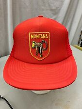 trucker hat baseball cap Vintage Snapback Mesh Patch Montana Saddle Cowboy