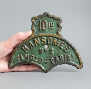 Vintage/Antique RANSOMES Cast Iron ANGLO-PARIS Mower/Farm Machinery NAME PLATE