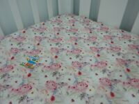 Cot Sheet Fitted Veronica Pure Cotton Fits up to 70 x 130cm mattress