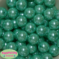 20mm Turquoise Acrylic Faux Pearl Bubblegum Beads 20pc Chunky Jewelry Necklace