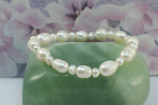 Simple White Freshwater Rice Pearls Stretching Bracelet, 18 cm