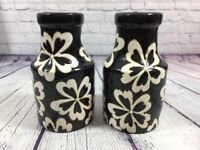 "2 Vintage Glazed Pottery Vases Jars Black with White Floral Designs - 7.75"" Tall"
