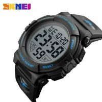 Mens Digital Sports Watch Outdoors Running 5ATM Waterproof Large Face Stopwatch