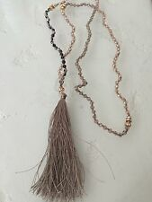 """Bohemian Crystal Bead Tassel Strand String Statement NECKLACE 32"""" Rose Taupe"""