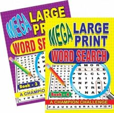 2 Word Search Puzzle Book Large Print Quiz Puzzles Books Brain Challenge IQ 3&4