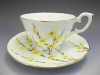 Crown Staffordshire Tea Cup & Saucer Set Yellow Flowers England Bone China