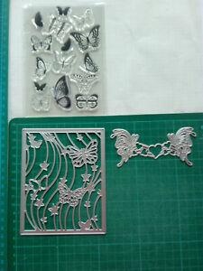 Stanzschablone Silikonstempel Schmetterlinge Hintergrund Kartenaufleger Bordüre