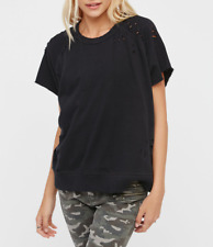 HOT FREE PEOPLE DISTRESSED BLACK SHORT SLEEVE THAT TEE COMFY PULLOVER TOP Sz L