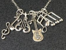 "Electric Guitar Music Notes Charm Tibetan Silver with 18"" Necklace BIN"
