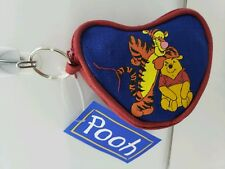 "Winnie The Pooh Coin Purse Keychain Disney Zipper 3.5"" heart Collectible vintage"