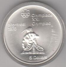 Moneta argento 5 dollars dollari canada 1974 montreal 1976
