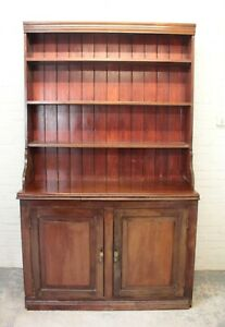Antique Victorian Mahogany & Pine Farmhouse Dresser With Plate Rack (Can Deliver