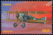 WWI RFC / RAF SPAD S.VII Biplane Fighter Aircraft Stamp (2003 Liberia)